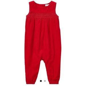Ralph Lauren Red smocked corduroy jumper coverall